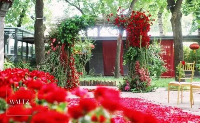 户外婚礼中,拱形仪式背景设计也较为常见,区别在于,花艺与拱门材质的